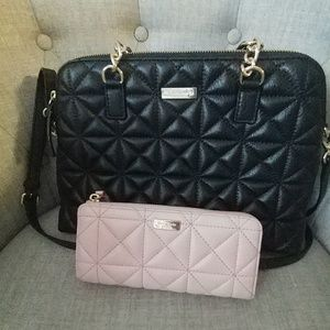 Kate Spade Quilted black handbag and pink wallet